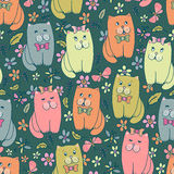 Funny kitten seamless pattern Stock Photography