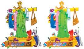 Funny kitten sitting on a coat rack royalty free illustration