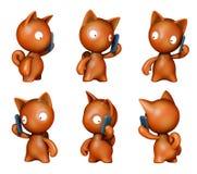 Funny kitten talking on mobile phone Stock Photos