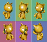 Funny kitten talking on mobile phone. 3D image Royalty Free Stock Photo