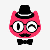 Funny kitty gentleman face Royalty Free Stock Images