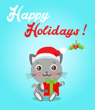 Funny Kitty With Gifts And Santa Hat In Flat Style. Happy Holidays Postcard Design. Funny Cat. Royalty Free Stock Image