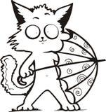 Funny kitty holding umbrella Stock Image