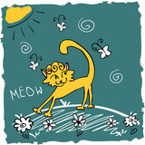 Funny kitty in the meadow Royalty Free Stock Images
