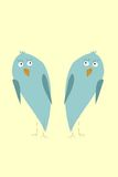 Funny kiwi birds. Two funny green kiwi birds with surprised eyes on light yellow background Vector Illustration