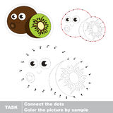 Funny kiwifruit. Vector numbers game. Funny kiwifruit in vector to be traced by numbers. Easy educational kid game. Simple game level. Education and gaming for Stock Photography