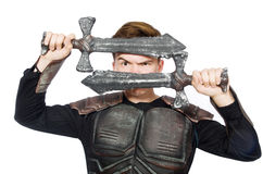 Funny knight isolated. On the white background Stock Photography