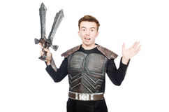 Funny knight isolated. On the white background Royalty Free Stock Photography