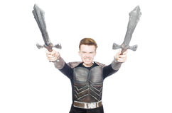Funny knight isolated. On the white background Stock Images