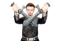 Funny knight isolated. On the white background Stock Photos