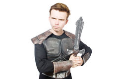 Funny knight isolated. On the white background Stock Image