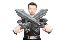Funny knight isolated. On the white background Royalty Free Stock Photo
