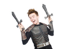Funny knight isolated. On the white background Stock Photo