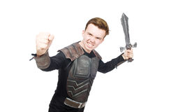Funny knight isolated. On the white background Royalty Free Stock Image