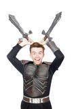 Funny knight isolated. On the white background Royalty Free Stock Images