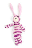 Funny knitted rabbit toy showing left direction Royalty Free Stock Photography