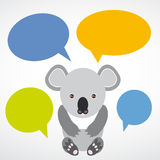 Funny koala with colored speech bubbles on white background. vec Royalty Free Stock Photography