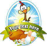 Funny label with hen and eggs illustration Royalty Free Stock Photos