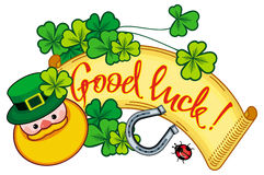 Funny label with shamrock, leprechaun and text Good luck!. Raster clip art. Funny label with shamrock, leprechaun and text Good luck!. St. Patrick Day Royalty Free Stock Images
