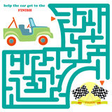 Funny labyrinth with car. Funny labyrinth. Help the car get to the finish and get out of the maze. Funny cartoon character. Vector Rebus.  on white background Royalty Free Stock Photography