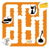 Funny labyrinth with cats. Funny labyrinth for children entertainment with cats, mouse and cheese Royalty Free Stock Image