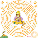Funny labyrinth game for children. Funny labyrinth. Help the leopard find the snake. Themed maze game. Vector cartoon leopard illustration.  on white background Stock Images