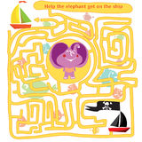 Funny labyrinth 2. Funny labyrinth. Help the elephant get out of the maze. Game save animal from the pirates. Illustration with tangled lines. Funny cartoon Stock Photo