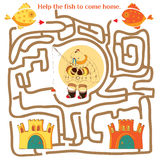 Funny labyrinth. Help the fish to come home. Illustration with t Stock Photo