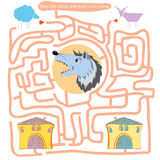 Funny labyrinth. Help the sheep and goat come home. Stock Photography