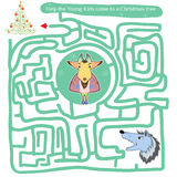 Funny labyrinth. Help the Young Kids Stock Images