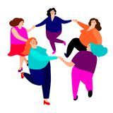 Funny ladies dance. Cute happy cartoon overweight women friends characters dancing in circle vector illustration in bright colors stock illustration