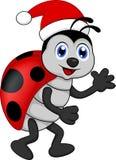 Funny lady bug cartoon xmas vector illustration