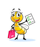 Funny lady fly character. Happy fly or bee cartoon character with pink bag and shopping list Royalty Free Stock Photography