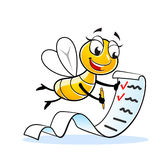 Funny lady fly mascot. Happy fly or bee cartoon character with large shopping list Royalty Free Stock Image