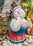 Funny lady. Funny smile lady  sculpture in the garden Stock Photography