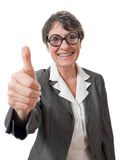 Funny lady with thumb up Stock Photography