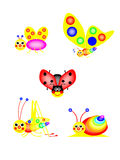 Funny ladybird, butterfly, grasshopper, snail, fly. Isolated, white, background, colors of the rainbow stock illustration