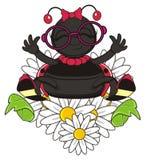 Funny ladybug climbing on the flowers Stock Photos