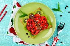 Funny ladybug face sandwich for kids snack food royalty free stock image