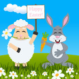 Funny Lamb & Rabbit Wishing Happy Easter Stock Images