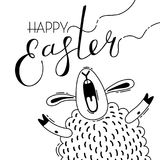 Funny lamb screams congratulations. Greeting card with Happy Easter writing. Vector illustration royalty free illustration