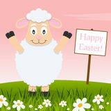 Funny Lamb Wishing a Happy Easter Stock Photography