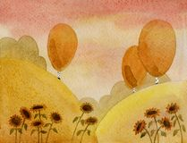 Funny landscape. Sunflowers. Abstract rural landscape with sunflowers and birches. Watercolour Royalty Free Stock Image