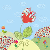 Funny landscape with tulip Royalty Free Stock Image