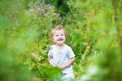 Funny laughing baby in a green summer field Stock Photos