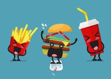 Funny laughing French fries and soft drink character  Stock Images