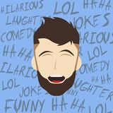 Funny laughing guy Stock Images