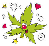 Funny laughing marijuana leaf Stock Images