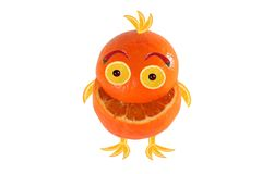 Funny laughing small orange  like chicken Stock Images