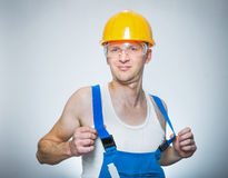 Funny lazy builder Royalty Free Stock Images